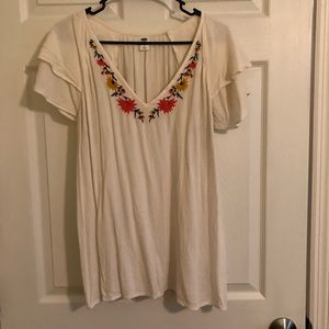 Old Navy Floral & Cream Blouse with Capped Sleeves